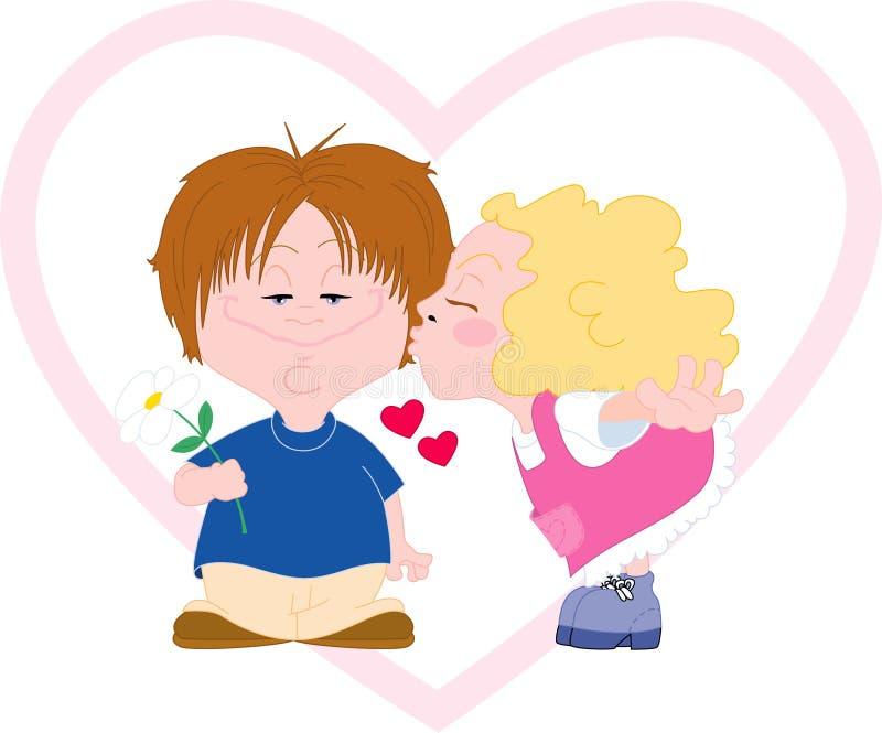 Bacio di giorno del biglietto di S. Valentino royalty illustrazione gratis