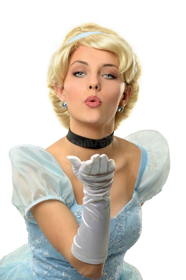 Bacio di salto della donna in vestito d'annata immagine stock libera da diritti