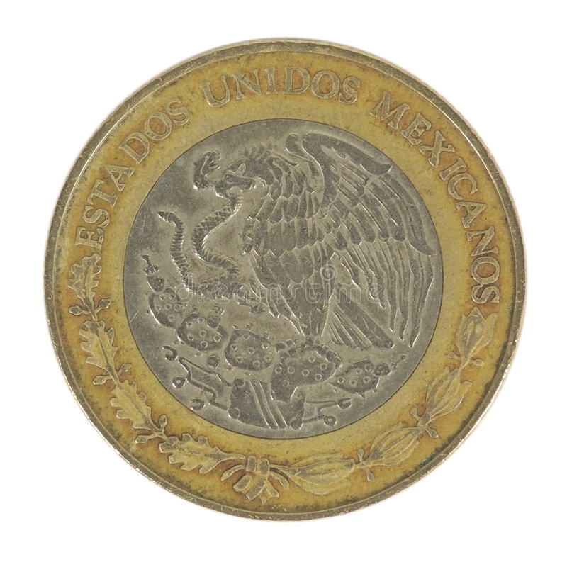Back of 5 Peso Coin stock photo