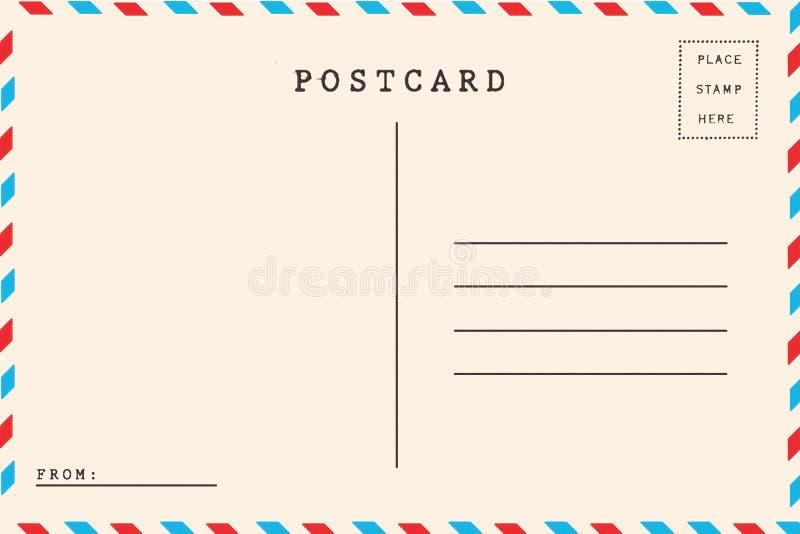 Back of airmail. Blank postcard stock illustration