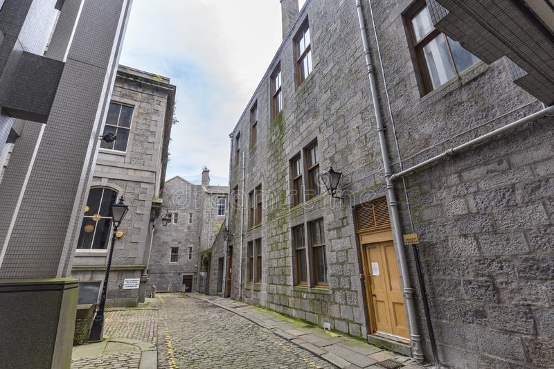 Aberdeen alley. A back in Alley in Aberdeen, United Kingdom royalty free stock photos