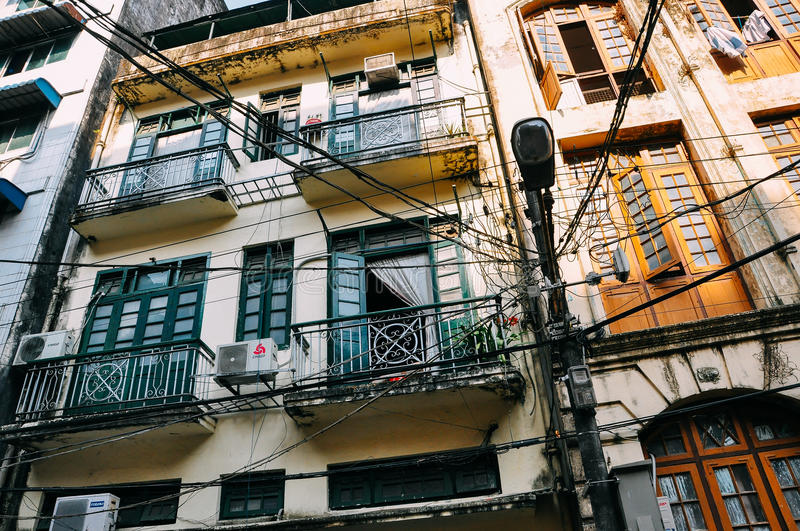 Back alley buildings in Yangon. royalty free stock photo