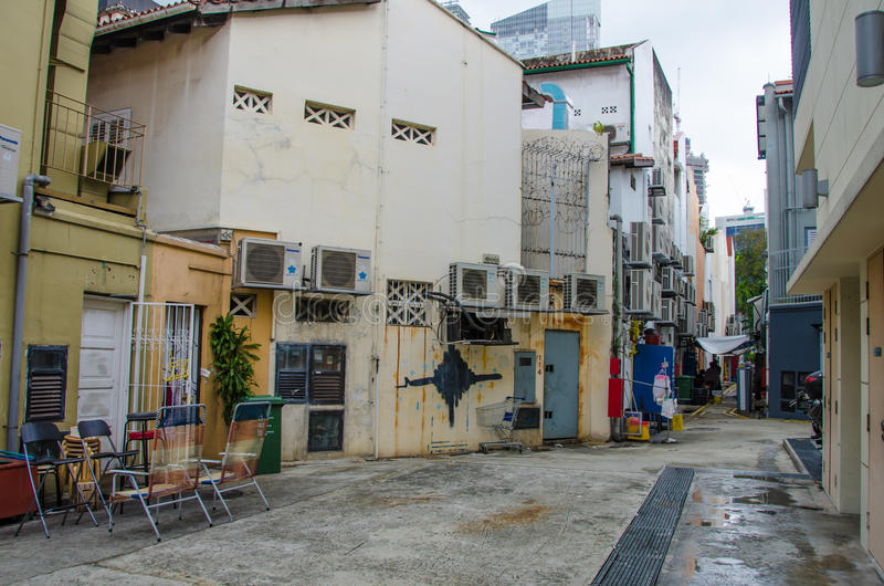 Back alley in Singapore stock photos