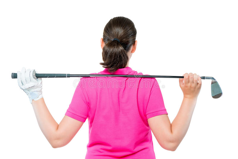 Back is athletes with equipment for playing golf. On a white background stock photos