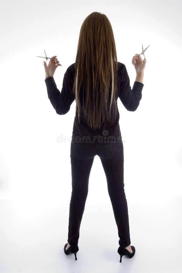 back barber female posing young στοκ εικόνα με δικαίωμα ελεύθερης χρήσης
