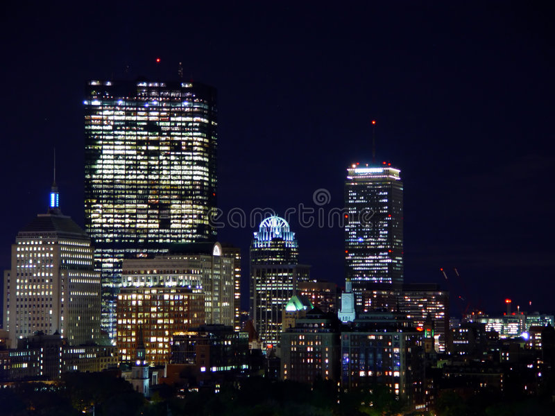 Download Back Bay Skyline at Night stock photo. Image of skyline - 1747518