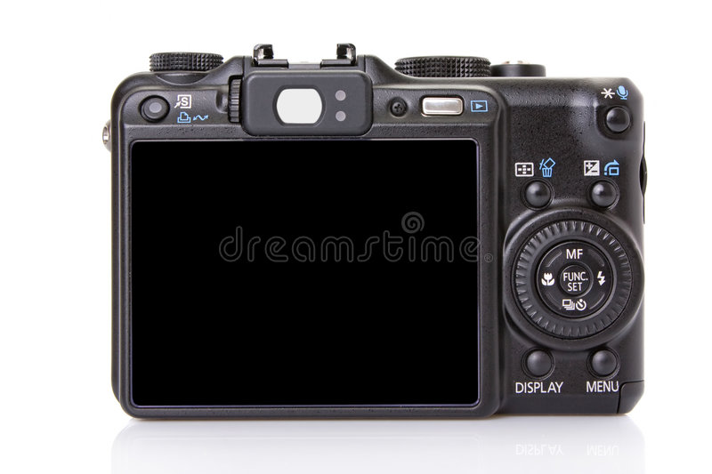 Back Of Black Digital Compact Camera Royalty Free Stock Images