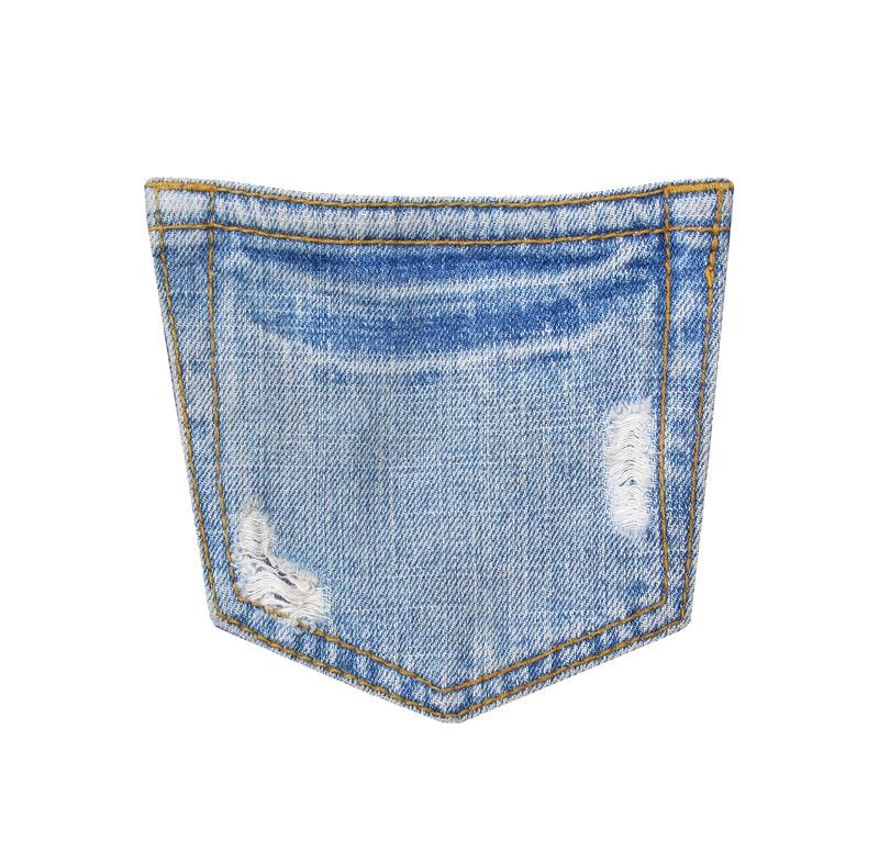 Back blue jeans pocket texture with ripped ,hole and white threads destroyed patterns on denim isolated on white background with royalty free stock photography