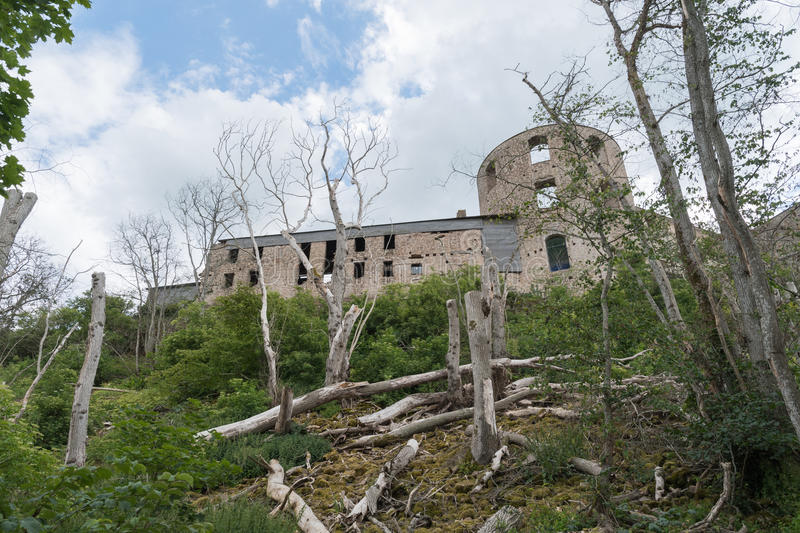 The back of Borgholm castle ruin in Sweden stock photography