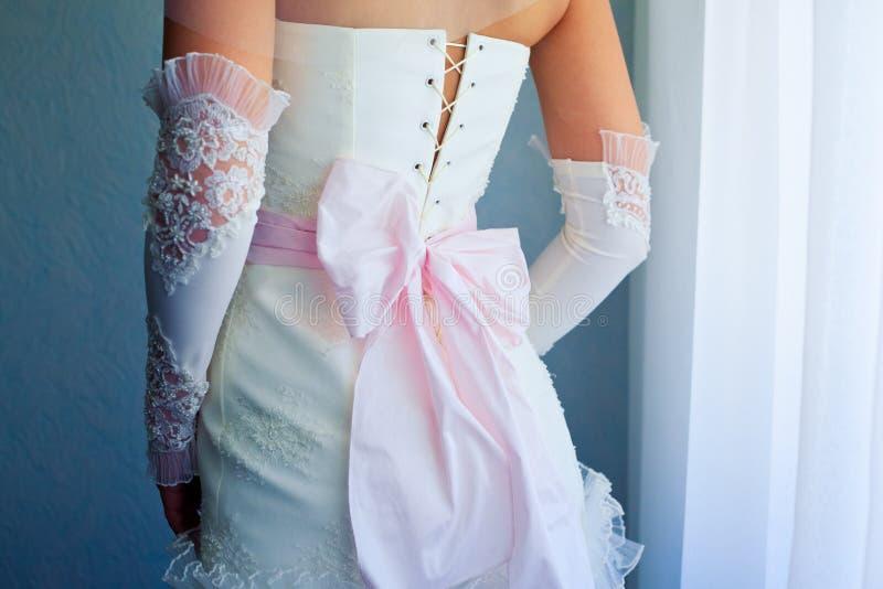 Back of bride in wedding dress stock photo