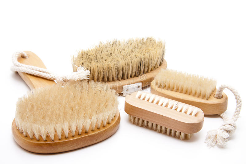 Back brush and nailbrush. With bristles on white background royalty free stock photography