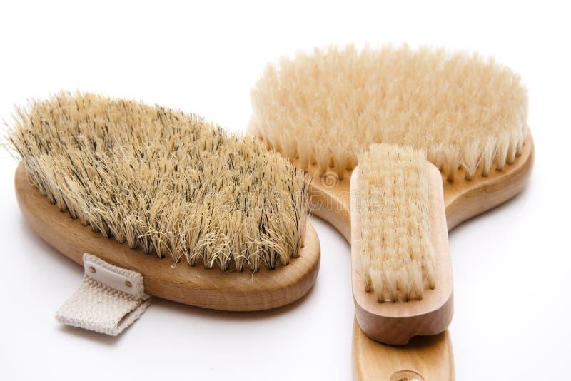 Back brush and nailbrush. With bristles on white background stock photo