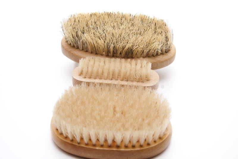 Back brush and nailbrush. On white background royalty free stock images