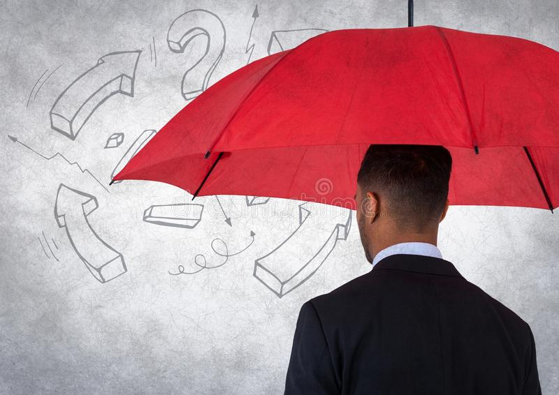 Back of business man with umbrella against white wall with math graphic and grunge overlay royalty free stock photography