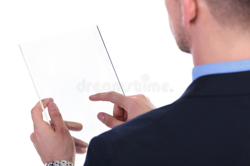 Back Of Business Man Working On Transparent Screen Stock Photo