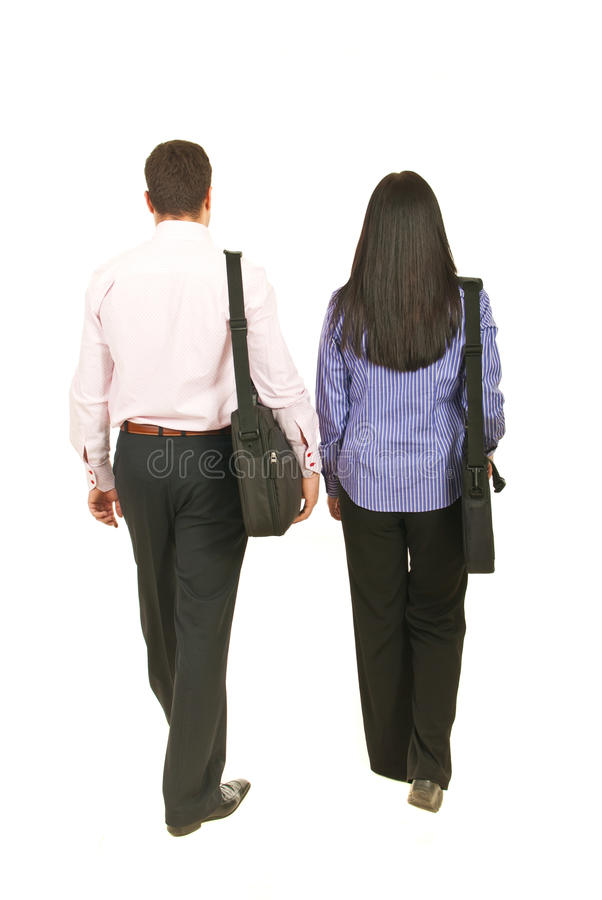 Back of business people walking stock images