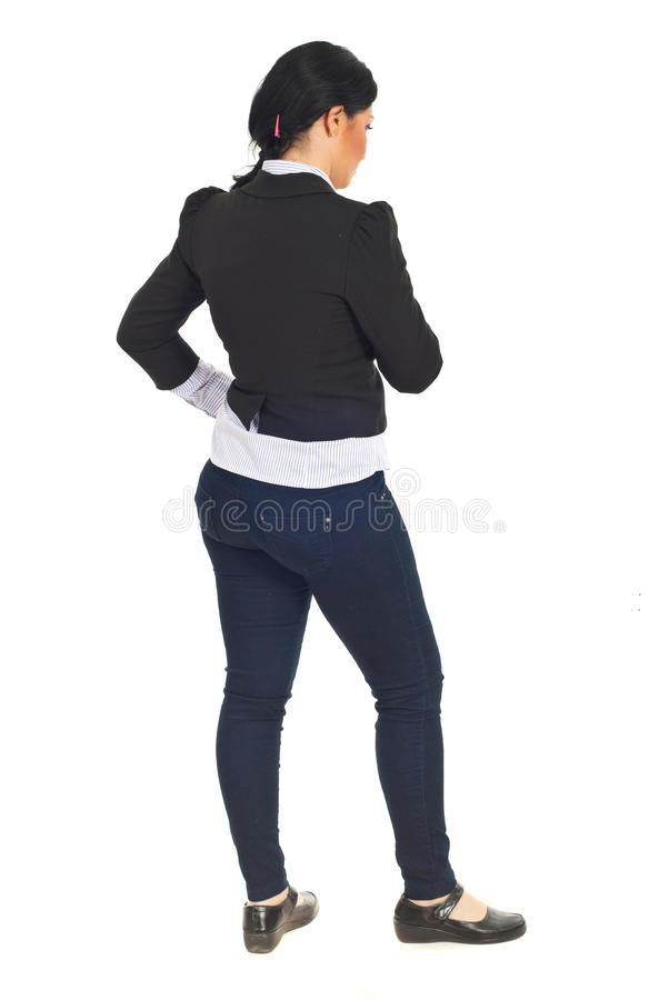 Back of business woman thinking royalty free stock photography