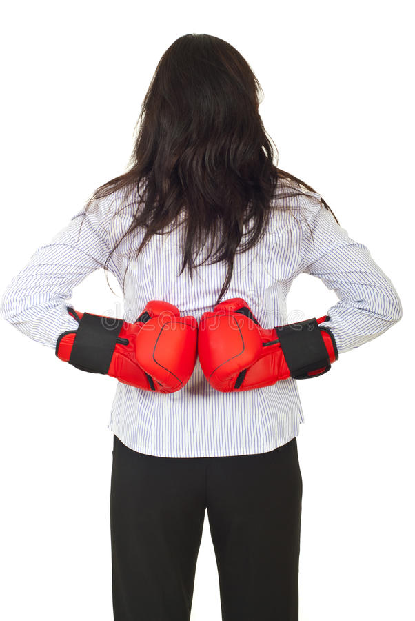 Download Back Of Businesswoman Hiding Gloves Stock Image - Image: 20311289