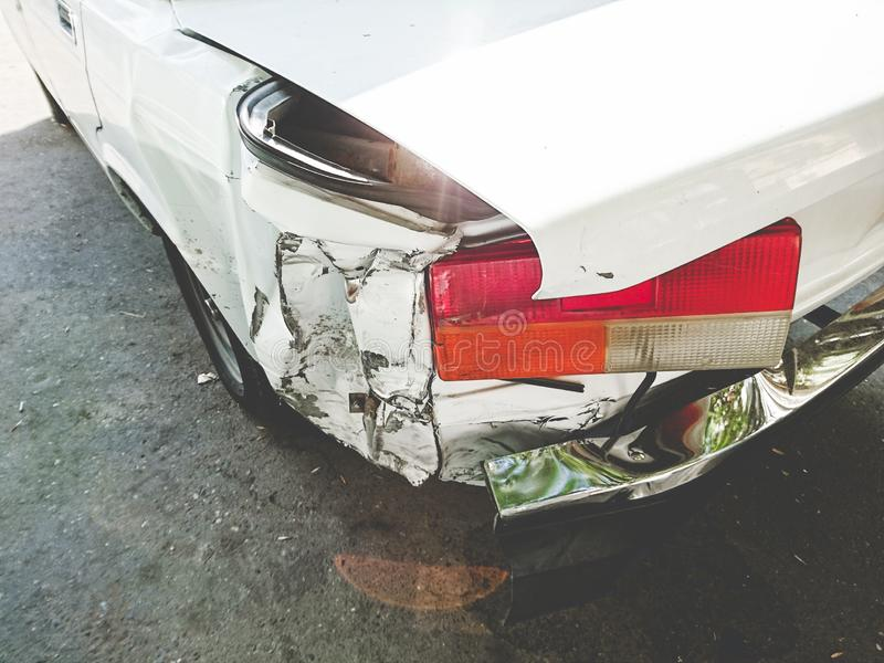Back of the car body damaged. The back of the car body damaged after an accident royalty free stock images