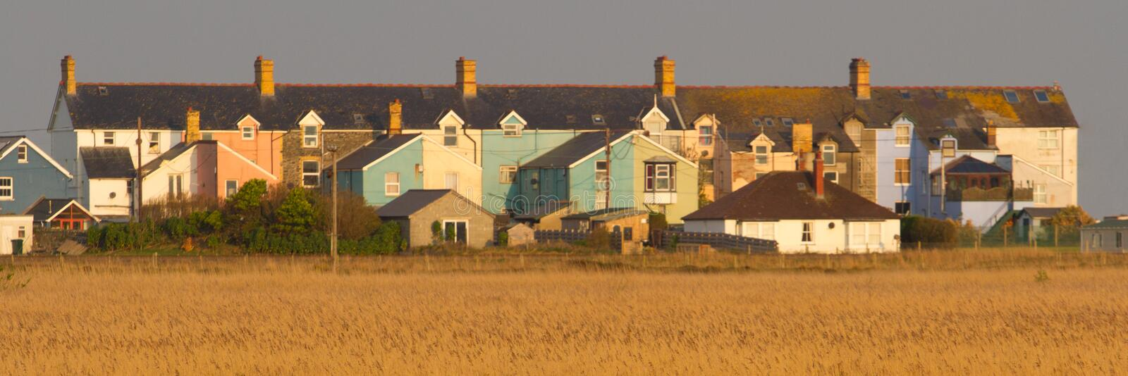 Borth houses with reed beds royalty free stock photos