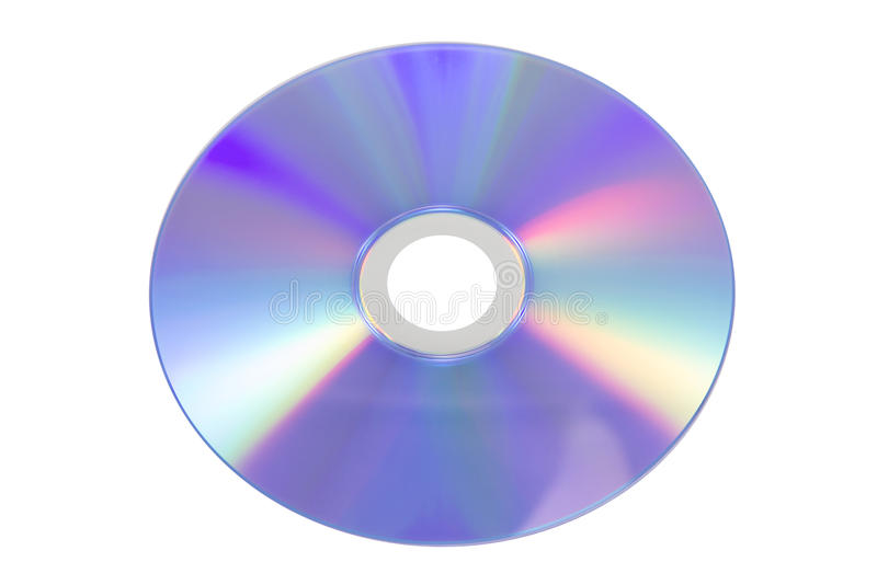 Back of compact disc on white background. Back of compact disc isolated on white stock photo