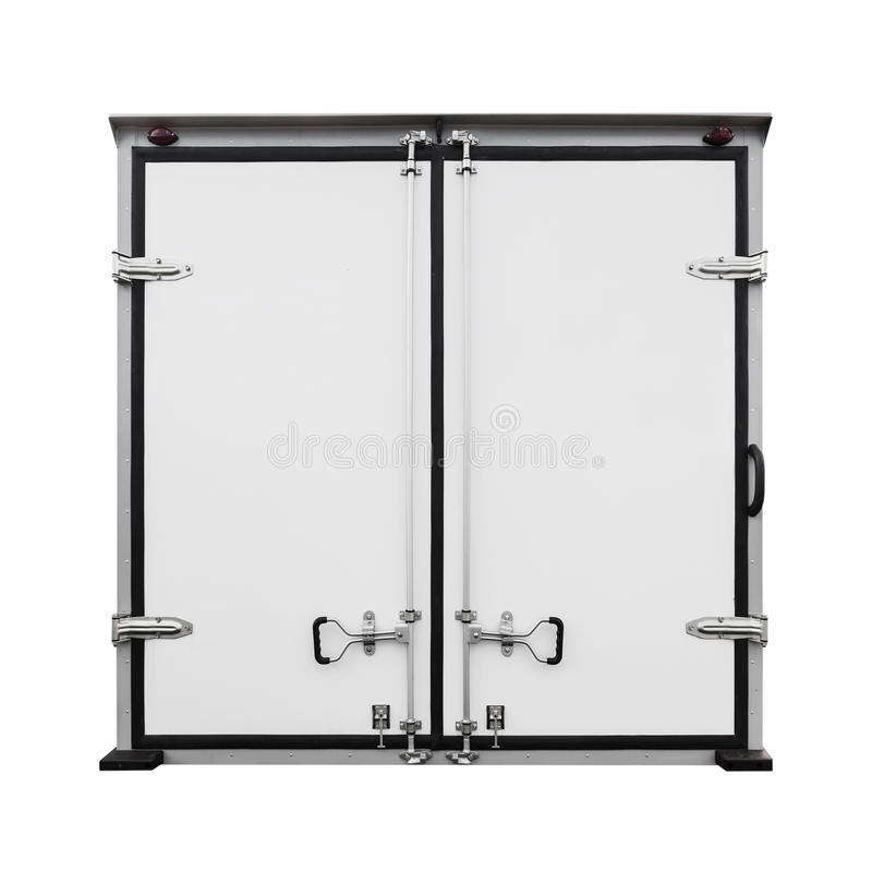 Download Back Doors Of White Cargo Truck Isolated On White Stock Image - Image of closeup  sc 1 st  Dreamstime.com & Back Doors Of White Cargo Truck Isolated On White Stock Image ...