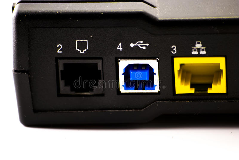 Back of DSL Modem Isolated. The rear of a DSL modem isolated on white stock photos