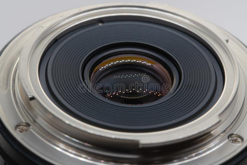 Back element of the camera lens stock image