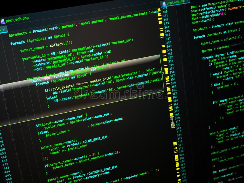 Back-end coding workflow of the web developing using php language. PHP on black background. Back-end coding workflow of the web developing using php language stock photos