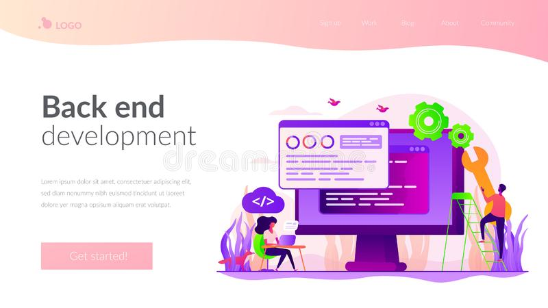 Back end development landing page template royalty free illustration