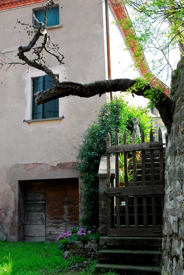 Back entrance of a home in Arquà Petrarca Veneto Italy stock photography