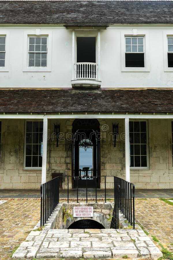 Back entrance of the Rose Hall Great House in Montego Bay Jamaica. Popular tourist attraction. stock photo