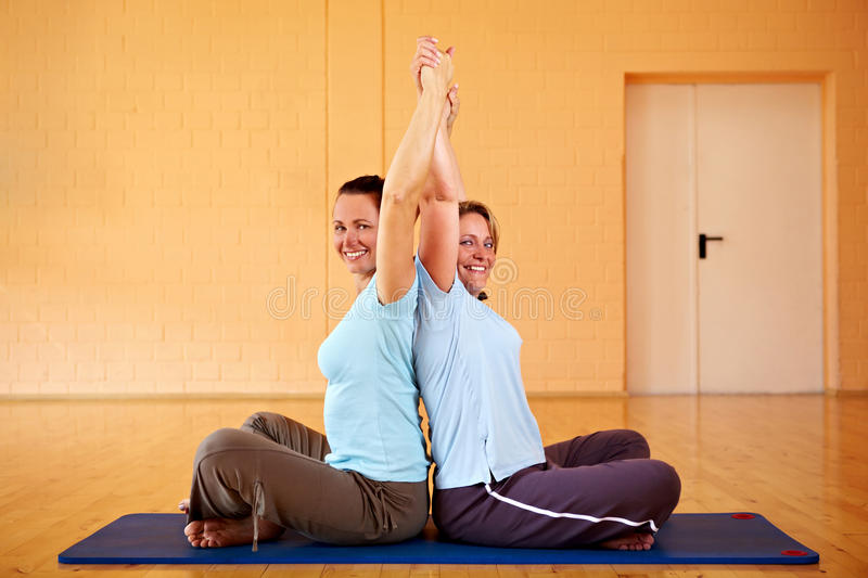 Download Back exercise class in gym stock image. Image of smile - 16958043