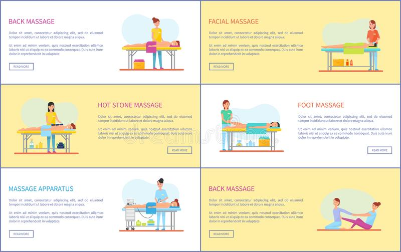 Back Facial and Hot Stone Massage Posters Vector. Back facial and hot stone, foot massage and treatments set. Posters with text sample and masseuses with vector illustration