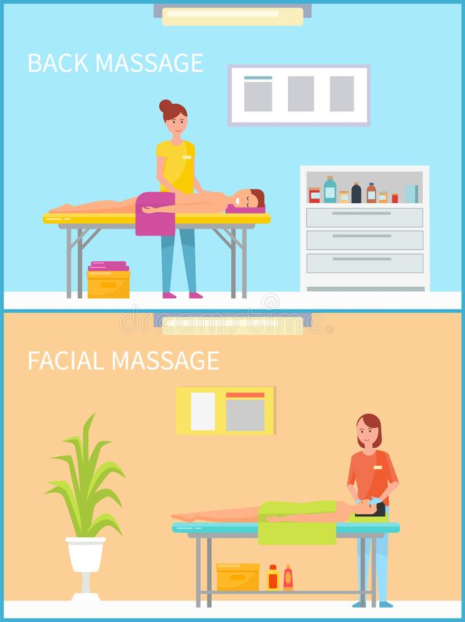 Back and Facial Massage and Procedure Set Vector. Back and facial massage and procedure set of woman masseuses working with clients and patients lying on table vector illustration
