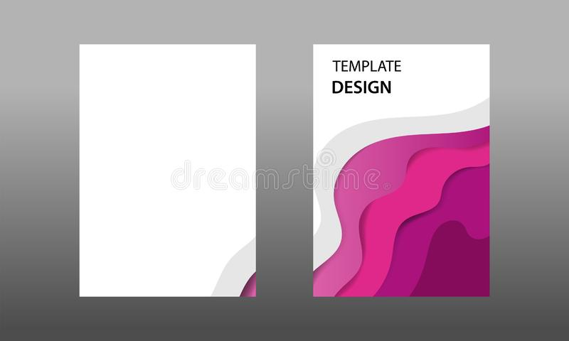 Back and Front document mock up and cover template, wave fluid purple maroon color layered in paper cut topographic style. stock illustration