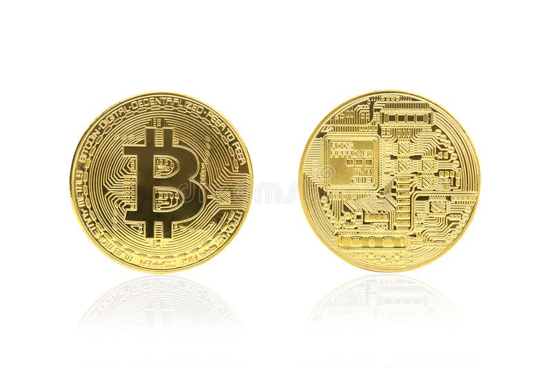 Back and front view of golden bitcoin royalty free stock image