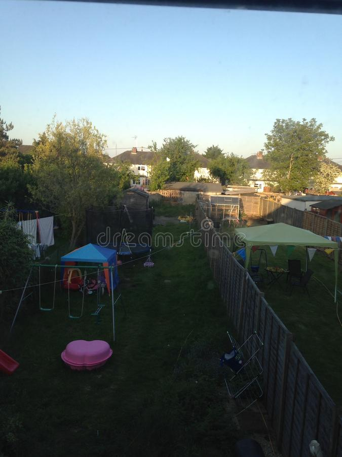 Back garden picture stock photography