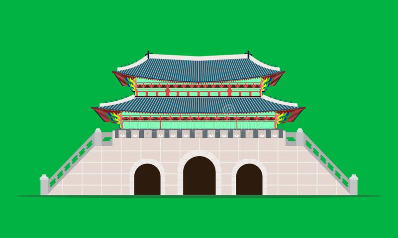 Back gwanghwamun gate gyeongbokgung palace in seoul south korea vector illustration eps10. Back gwanghwamun gate gyeongbokgung palace in seoul south korea vector stock illustration