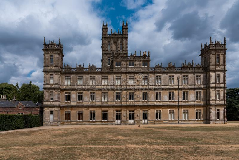 Back of Highclere Castle in Hampshire, England royalty free stock photo