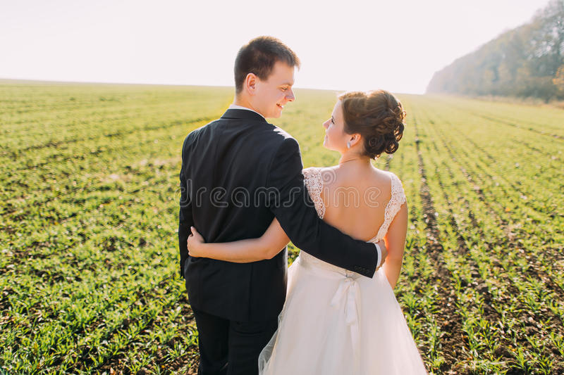 The back of the hugging and smiling newlyweds spending their time in the field. royalty free stock images