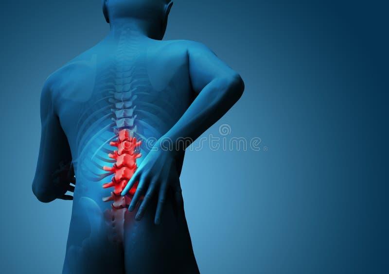 Back hurt. 3d render with red highlight vector illustration