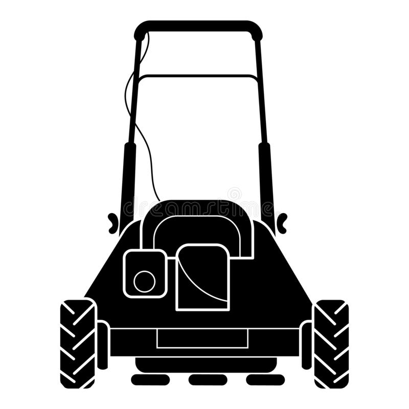 Back of lawn mower icon, simple style. Back of lawn mower icon. Simple illustration of back of lawn mower vector icon for web design isolated on white background stock illustration