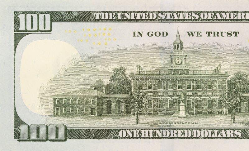 Back Left Half of the New One Hundred Dollar Bill. Back Left Half of the Newly Designed U.S. Currency One Hundred Dollar Bill stock images