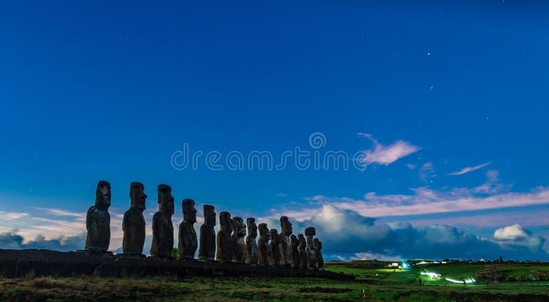 Dawn and Moai statues of Ahu Tongariki on Easter Island stock photo