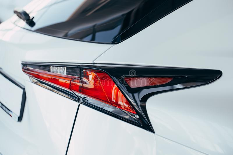 Back lights of modern white car royalty free stock photography