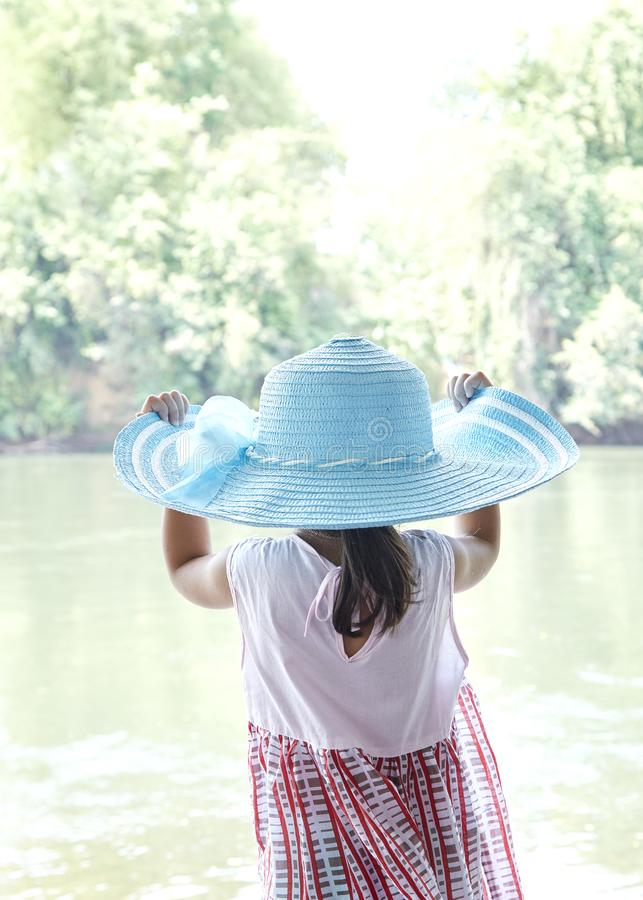 Back Little Asian Girl outdoors in summer royalty free stock photos