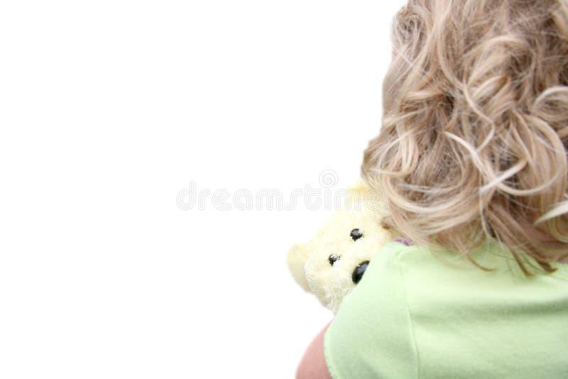 Download Back Of Little Girl Holding Teddy Bear Stock Image - Image: 1911281