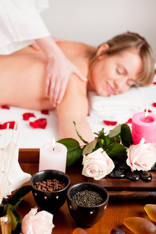 Back massage in Spa stock photography