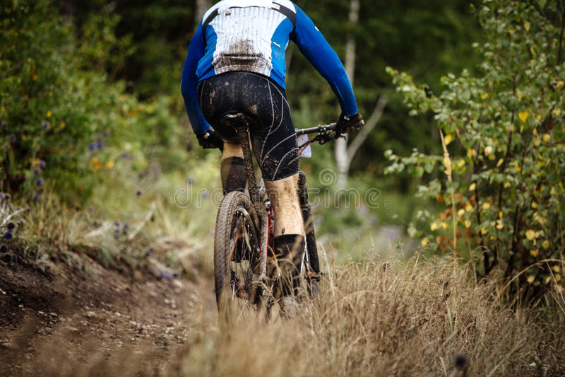 Back mountain rider on bike stock image